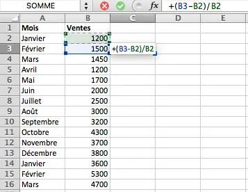 calcul du pourcentage de variation entre deux dates
