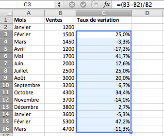 calcul du taux de variation mois par mois en pourcentage