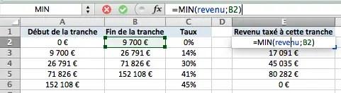 calcul de la première tranche des impôts