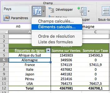 Comment créer un élément calculé sur Excel