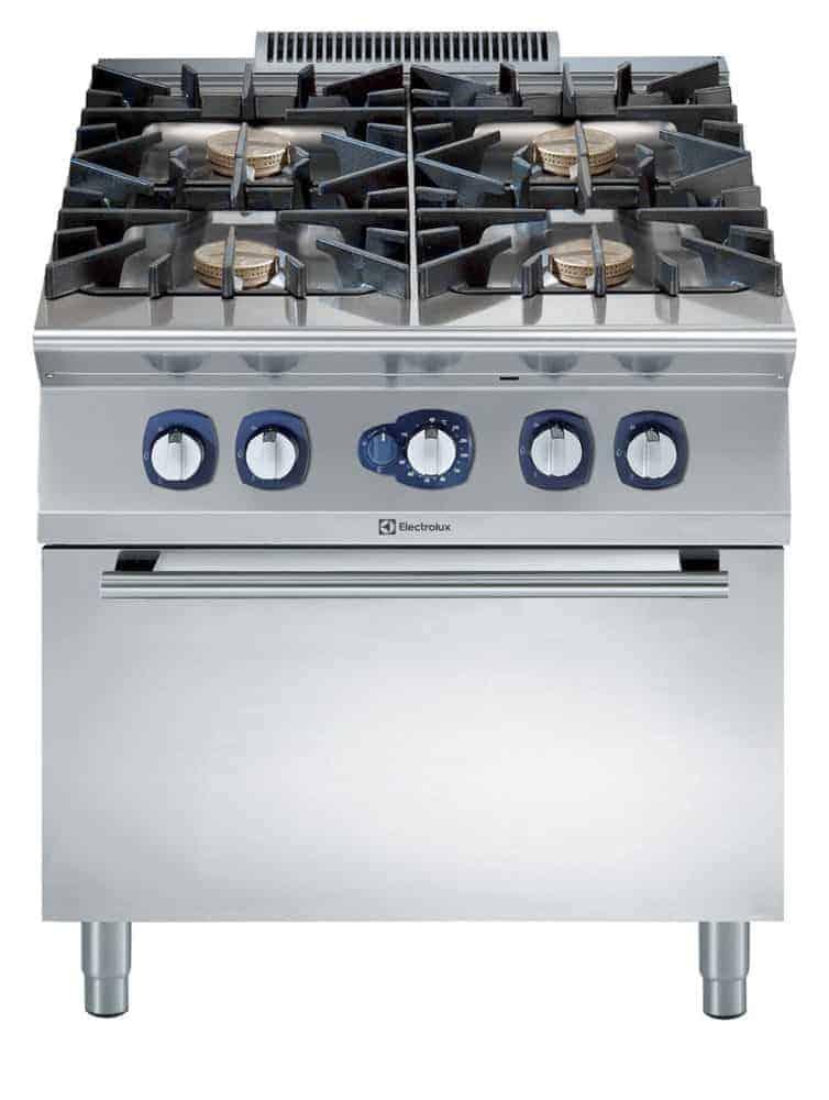 Cucina Professionale con Forno a Gas statico 4 fuochi
