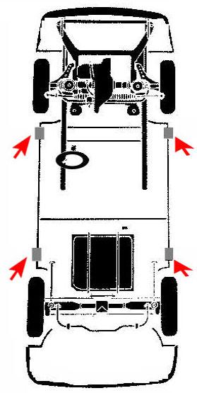 Puntos de apoyo para elevar un vehiculo buick