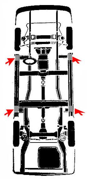 Puntos de apoyo para elevar un vehiculo mazda