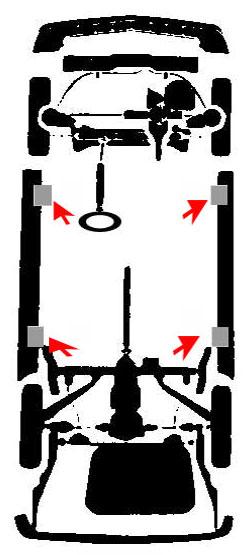 Puntos de apoyo para elevar un vehiculo dodge