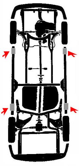 Puntos de apoyo para elevar un vehiculo plymouth