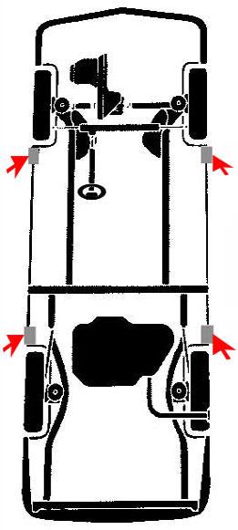 Puntos de apoyo para elevar un vehiculo nissan