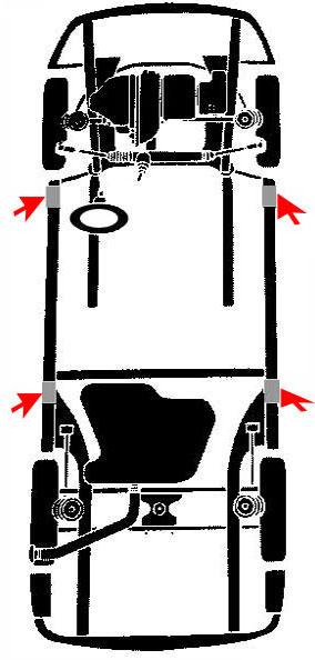 Puntos de apoyo para elevar un vehiculo porsche, saab