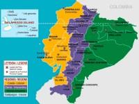 Mapa del Ecuador con sus Regiones Naturales: Sierra, Costa ...