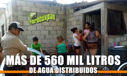 Más de 560 mil litros de agua distribuidos
