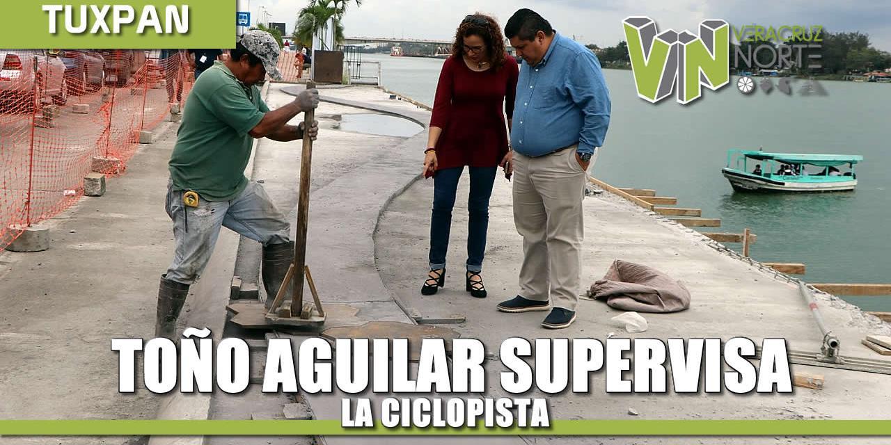Toño Aguilar supervisa ciclopista, la nueva cara de Tuxpan