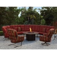 Monterra Curved Outdoor Sectional Set with Fire Pit Table ...