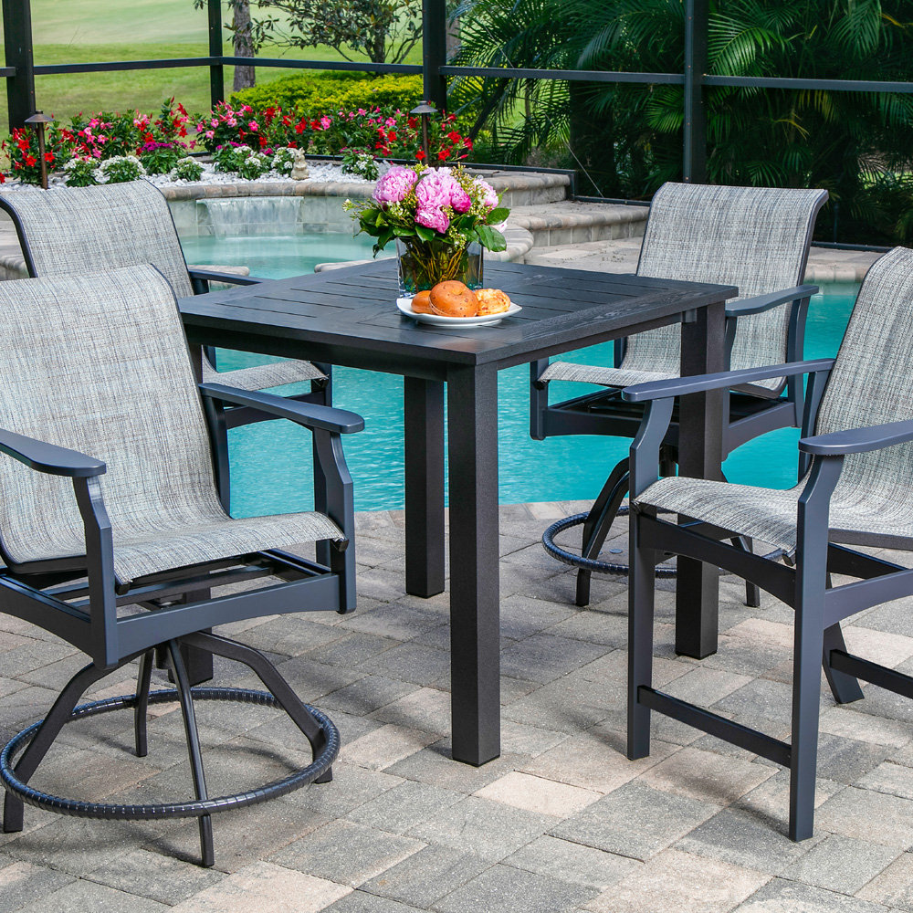 etched wood grain aluminum 61 x 106 rectangle dining table windward at forpatio com