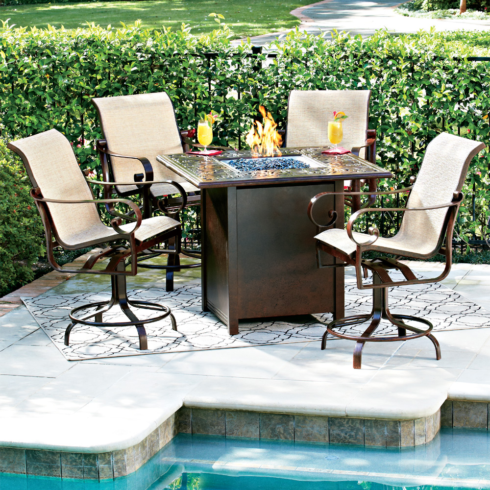 belden hi top fire pit set with swivel counter chairs woodard at forpatio com