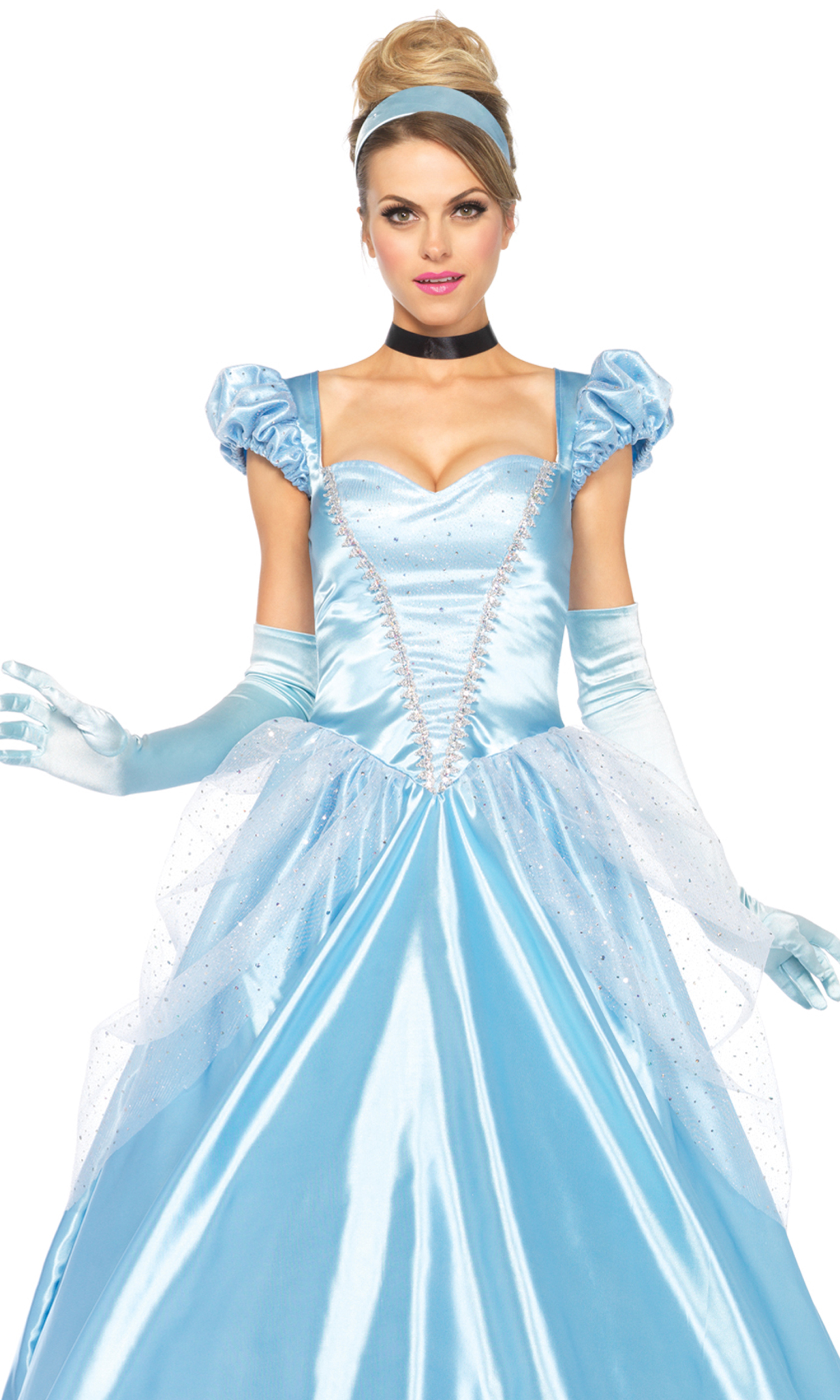 3PC Classic Cinderella Sexy Costume Long Satin Ball Gown