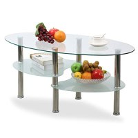 Topeakmart Modern Oval Glass Coffee Table Living Room ...