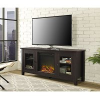 """WE Furniture 58"""" Wood Fireplace TV Stand Console, Espresso ..."""