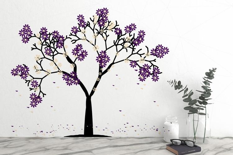 Purple Flowers Tree Wall Decal