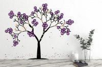 Purple Flowers Tree Wall Decal | Wall Stickers | Wall ...