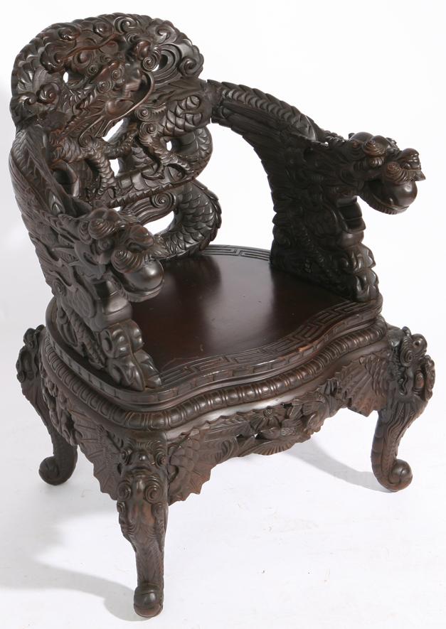 antique chinese dragon chair patio leg caps forsythes auctions llc cincinnati 341 carved teak