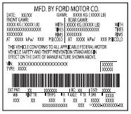 Ford Taurus Owners Manual: Vehicle certification label