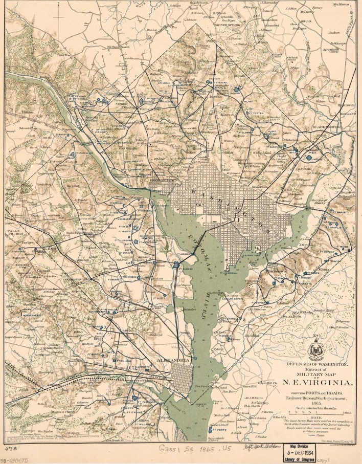 1865 map of the circle forts of DC