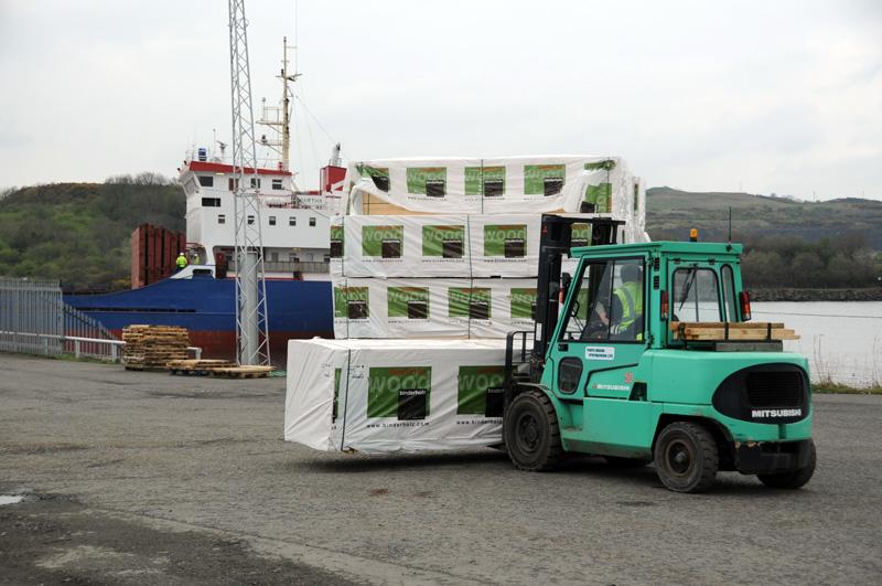 forklift moving timber
