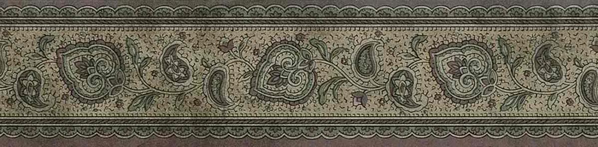 brown green paisley wallpaper border, cottage, vintage, bedroom, study, entrance way, cutout
