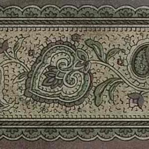 Brown Green Paisley Wallpaper Border Vintage 41146270 FREE Ship