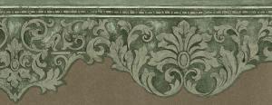green scroll wallpaper border, beige, cutout, dining room, bedroom