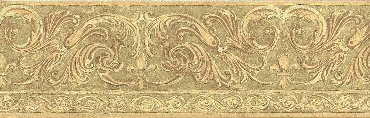 vintage wallpaper border scrolls, beige, pink, paisley, textured, pebbly, kitchen, bathroom