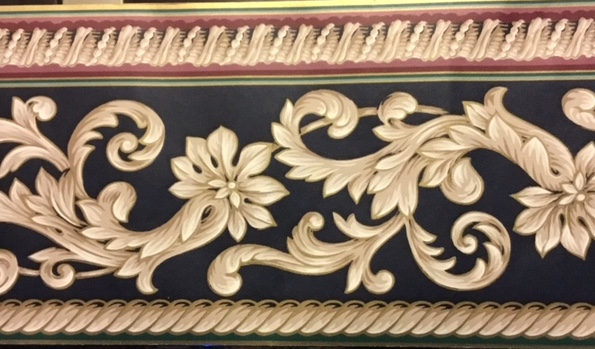 navy scroll vintage wallpaper border, taupe, cream, green, red, metallic gold, elegant, dining room, living room