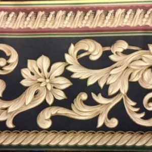 Navy Scroll Vintage Wallpaper Border Taupe Cream SB917-52B FREE Ship