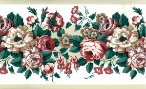 Waverly roses vintage wallpaper border, pink rose, lavender, off-white, green, leaves