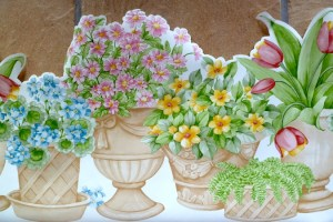 Waverly floral vintage wallpaper, border, cottage, cutout, terracotta, taupe, pottery, tulips, hydrangea, asters, ferns, green, blue, pink, yellow, kitchen