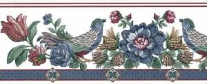 Tulips vintage wallpaper border, red, beige, pink, rose, blue, green