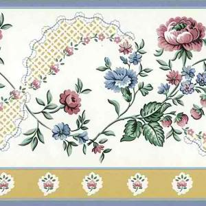 Ribbon Vintage Wallpaper Border Floral Yellow B592430 FREE Ship