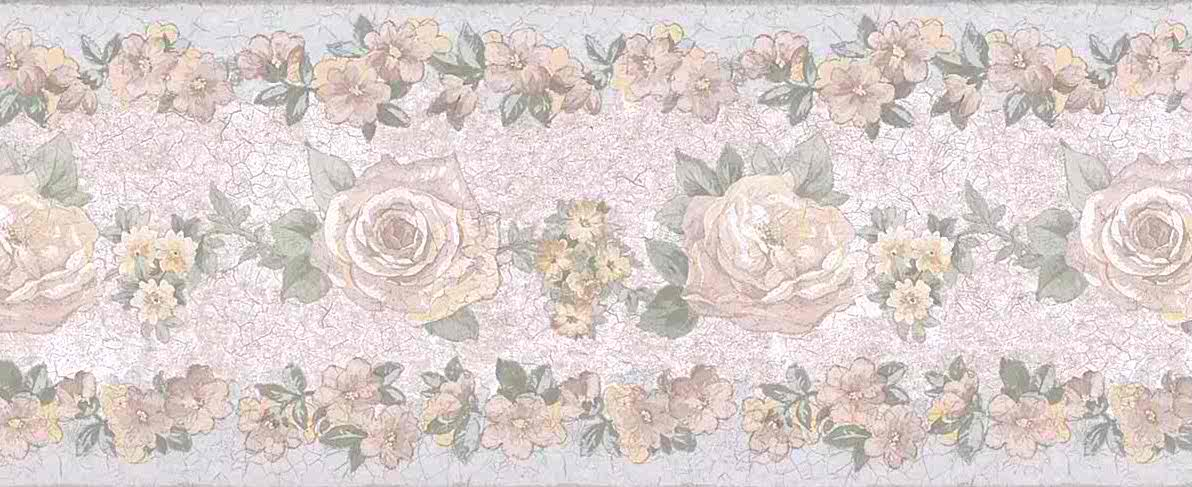 pink floral vintage border, vintage wallpaper border, floral, green, blue, cottage, guest bedroom