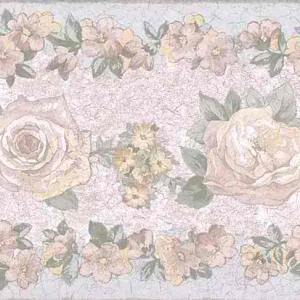 Pink Roses Vintage Border Green Blue 3456B FREE Ship