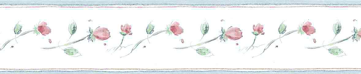 wallpaper border red roses, blue, green, leaves, rosebuds, vintage-style, cottage, guest bedroom