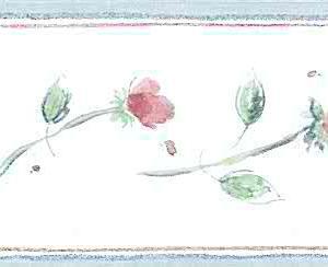 Wallpaper Border Red Roses Floral Vintage-Style JM015142B FREE Ship
