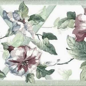 Morning Glory Vintage Border Floral Green 71B35277 FREE Ship