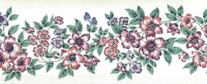 red floral vintage wallpaper border, textured, pink, blue, green, pearlized, glazed
