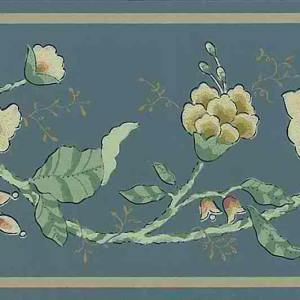 Slate Blue Vintage Wallpaper Border Floral Paisley Cottage TW1418B FREE Ship