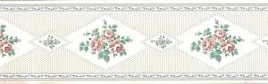 cream sampler vintage wallpaper border, green, pink, cottage