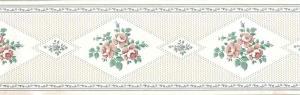 cream sampler vintage wallpaper border, green, pink, cottage
