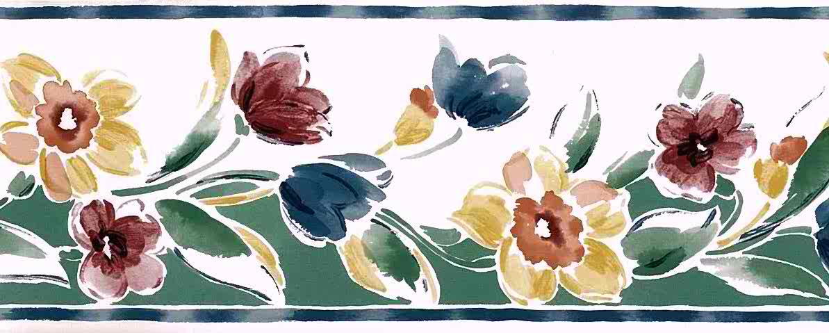 Spring flowers vintage wallpaper border, mid-century, cottage red, blue, green, yellow, white