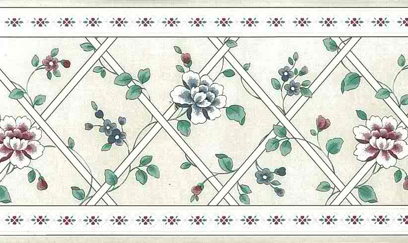 lattice floral vintage border, wallppaer border, gray, faux finish, flowers, red, blue, cottage
