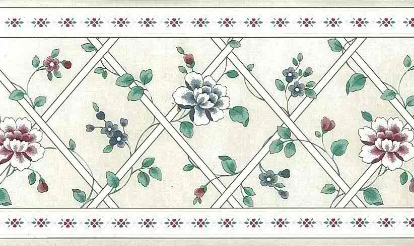 lattice floral vintage border, wallppaer border, gray, faux finish, flowers, red, blue, cottage