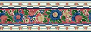 floral vintage wallpaper border Waverly, red, blue, green, yellow, pink