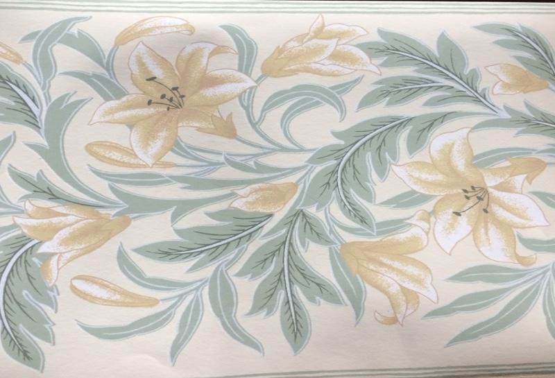 lilies vintage border, vintage wallpaper border, green, leaves, cottage-style, bedroom, Schumacher